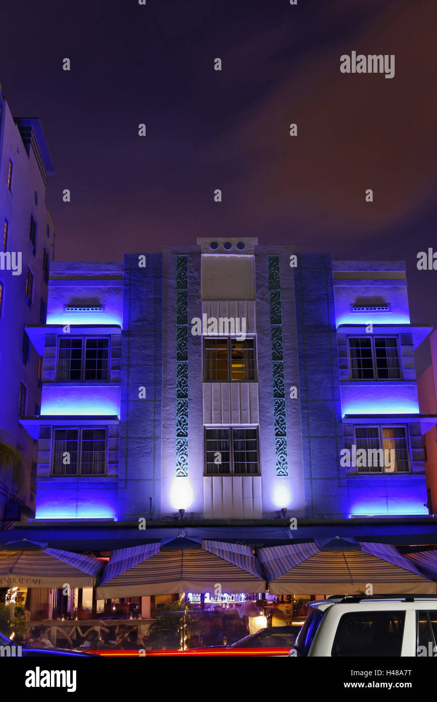 Park Central Hotel in the Art Deco District, Ocean Drive, dusk, Miami South Beach, Art Deco District, Florida, USA, - Stock Image