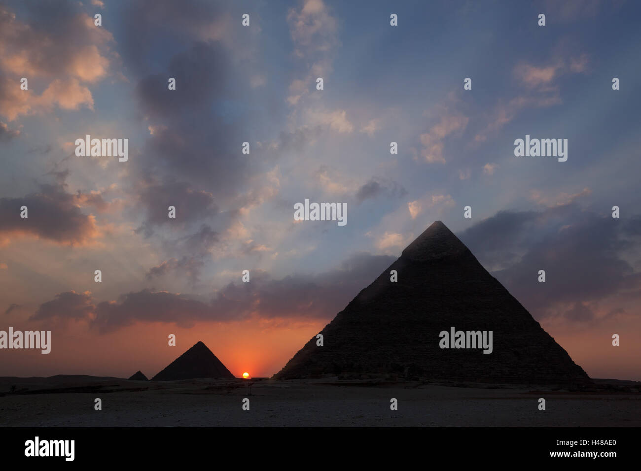 Egypt, Cairo, pyramids of Giza, sunset, - Stock Image