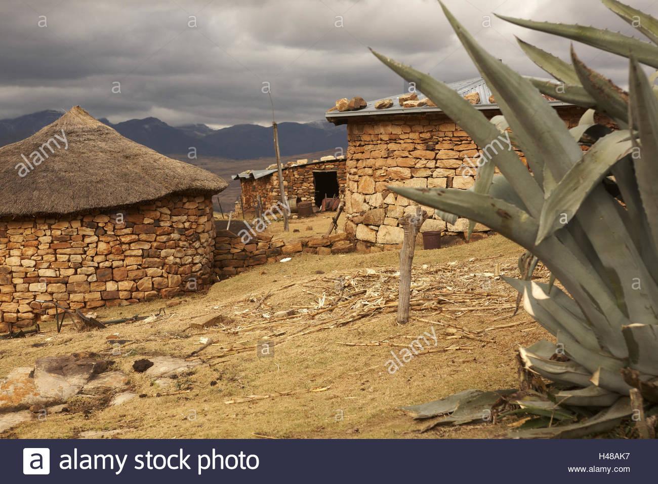 Africa, southern Africa, Lesotho, early Basutoland, province Maseru, Malealea, Drakensberge, Maloti mountains, Lowlands, - Stock Image