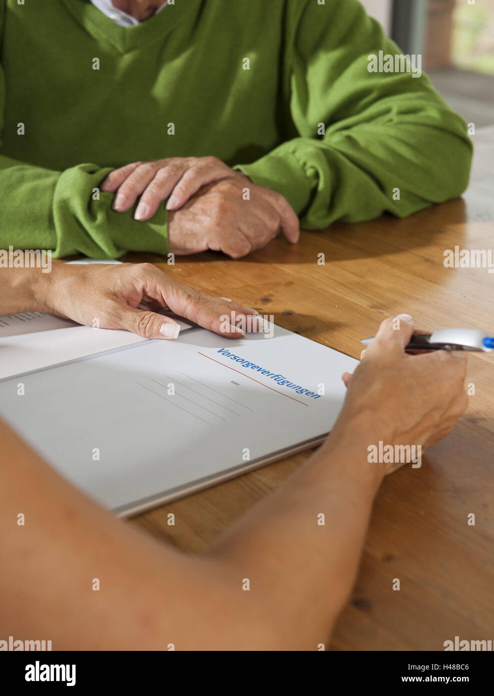 Senior cares about living wills, - Stock Image