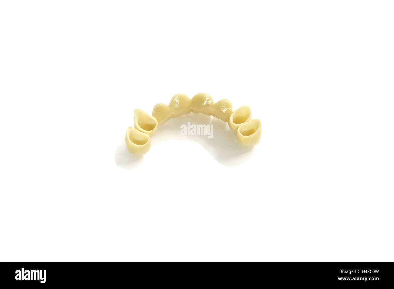 Set dentures, front cog bridge, cog laboratory, cogs, incisors, front cogs, substitute, artificially, white, cog - Stock Image