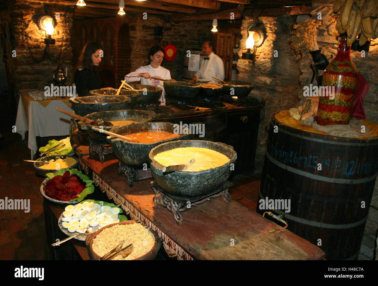 Brazil, Ouro Preto, food bar, counter, foods, guests, self-service, bar, restaurant, bar, peels, food, salad, specialities, - Stock Image