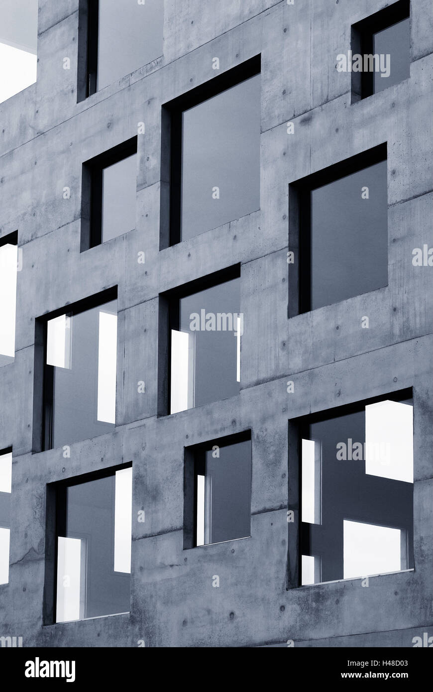 School management and design, sugar cube, wall, surface, concrete, window, glass, mirroring, blue, Germany, North Stock Photo
