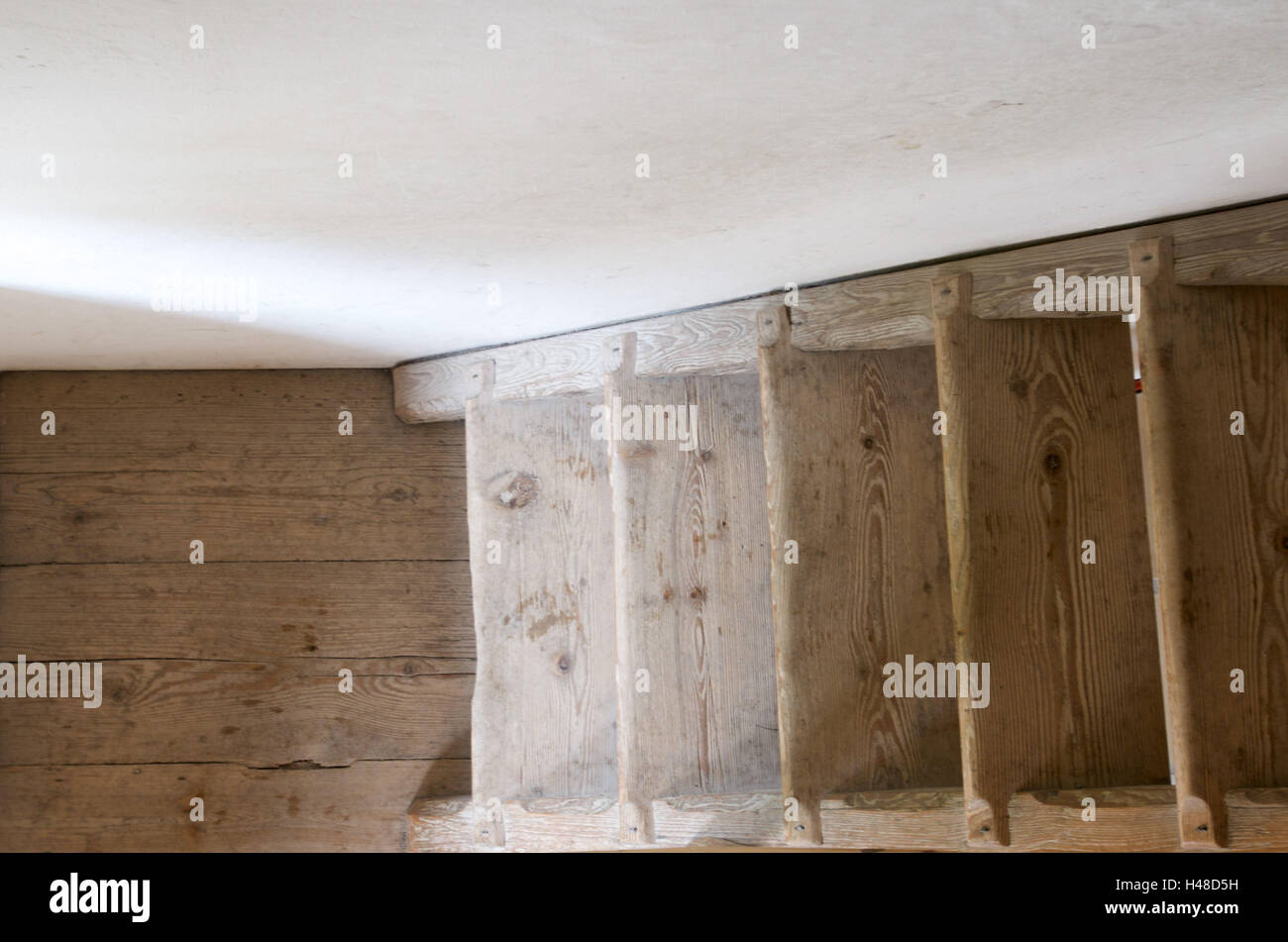 wooden stairs in the sunlight, view from above, - Stock Image