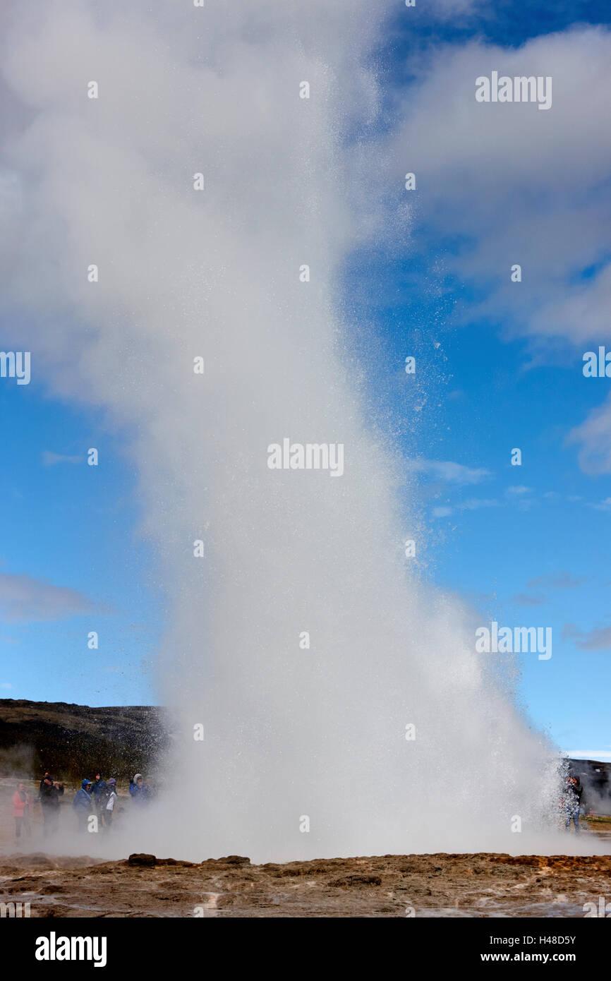 the strokkur geyser erupting geysir Iceland - Stock Image