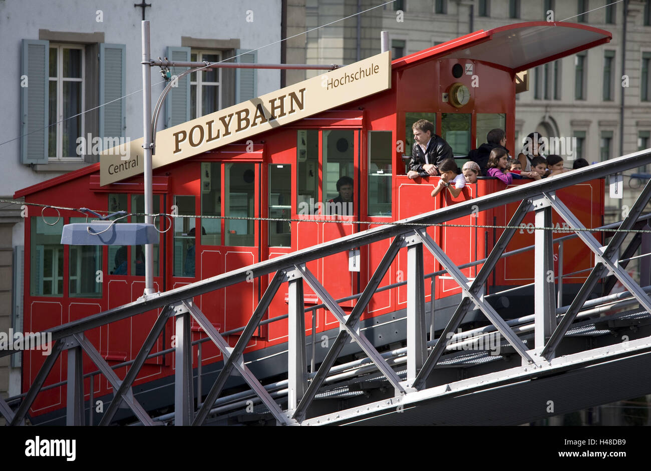 Switzerland, Zurich, polytrajectory, tourist, no model release, no property release, town, part town, city, polyterrace, - Stock Image