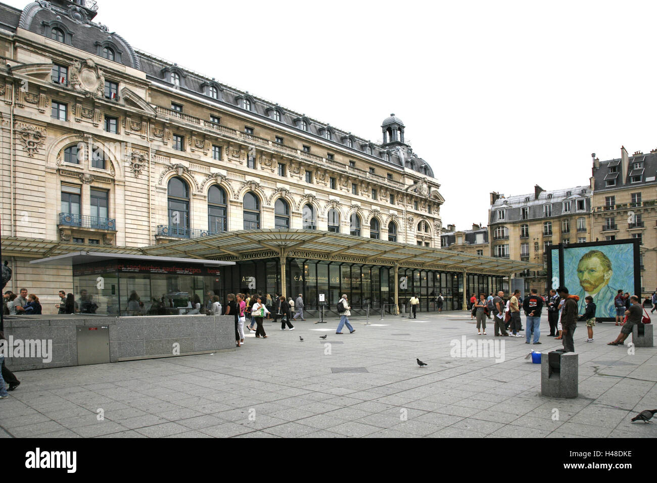 France, Paris, Seineufer, France dock, Musee D '0rsay, subway station, poster, passer-by, Europe, town, capital, - Stock Image