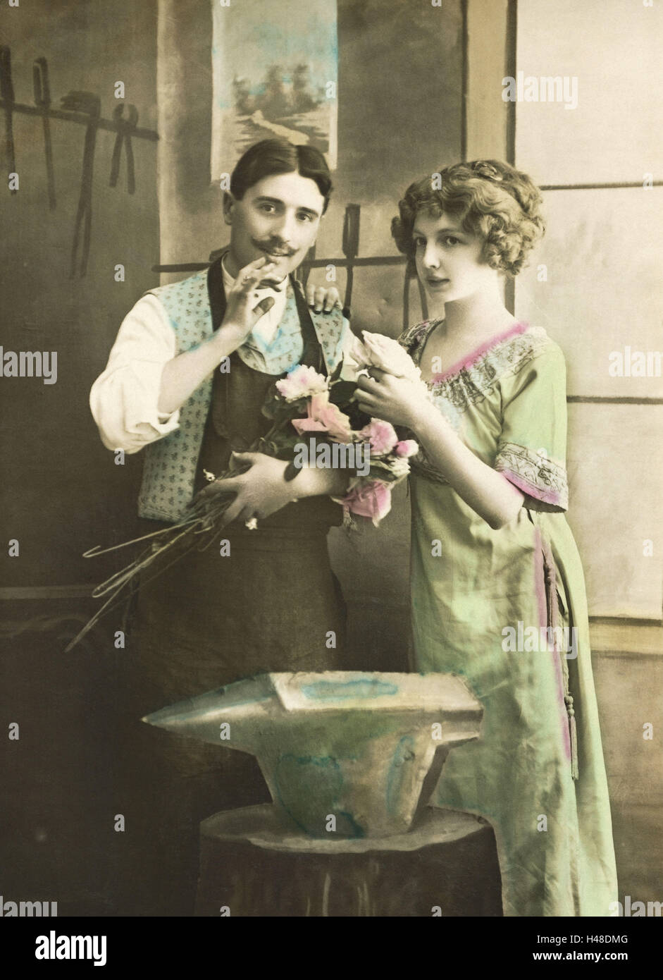 Nostalgia, greeting card, pair, forging, flowers, b/w colored, postcard, nostalgic, - Stock Image