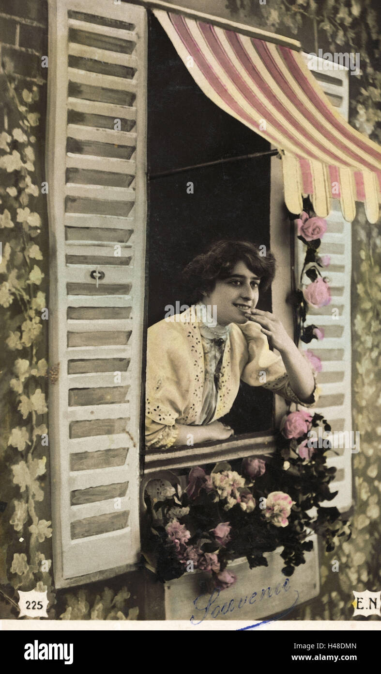 Nostalgia, woman, window, gestures, b/w colored, postcard, nostalgic, - Stock Image