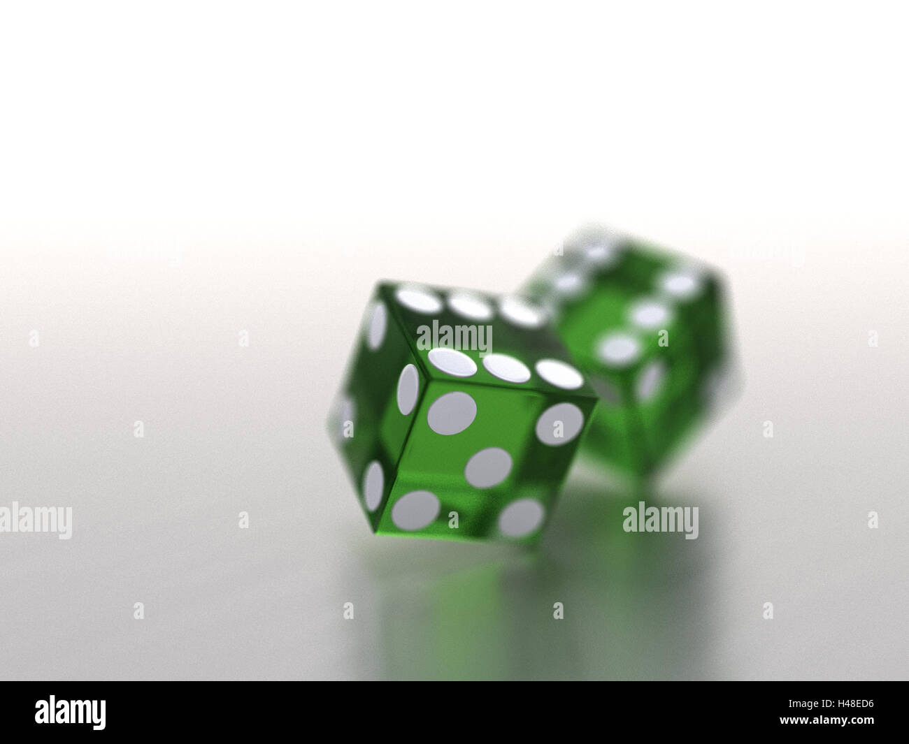 Cubes, two, green, transparent, blur, craps, game, goal, luck game, luck, chance, leisure time, entertainment, game - Stock Image