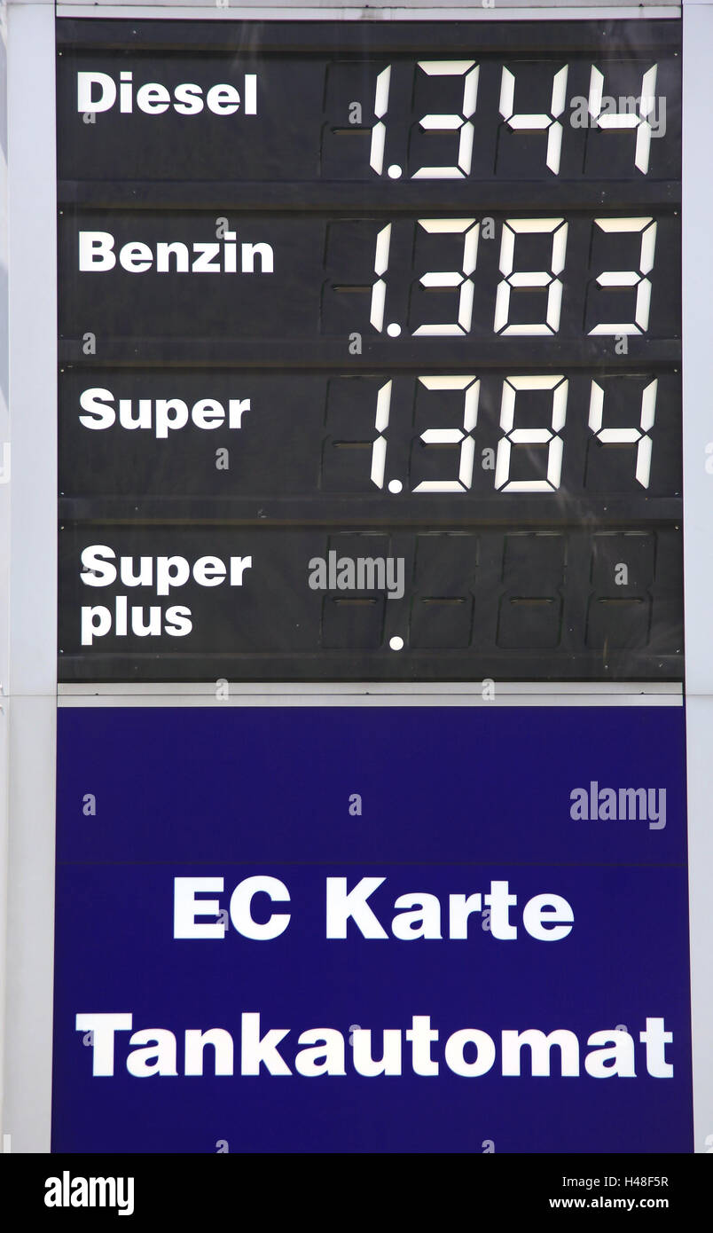 Filling station, price notice board, Austria, oil multinational, fuel price, diesel, petrol, super, euro, cent, - Stock Image