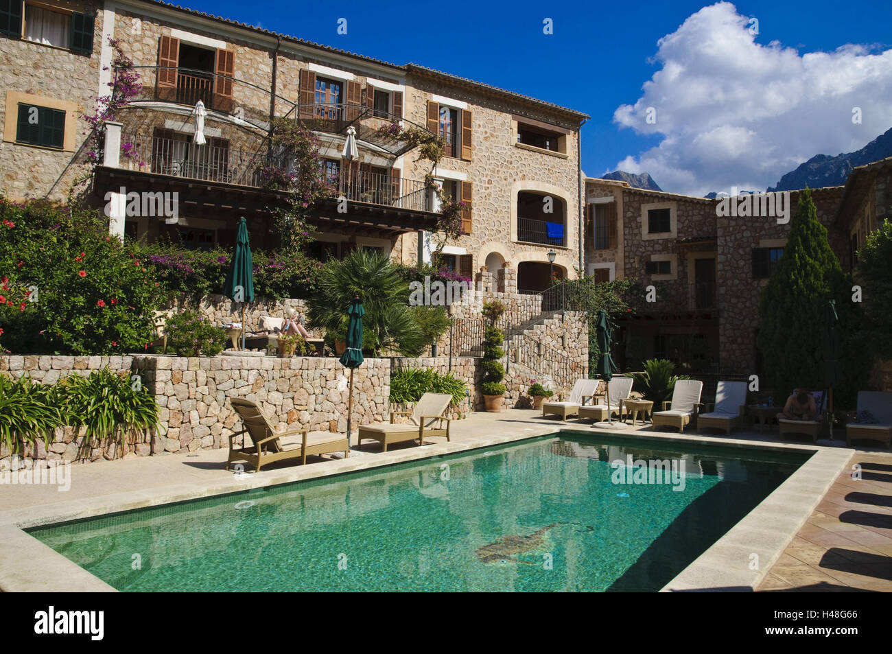 Pool, apartment hotel 'Sa Tanqueta', Fornalutx near Soller, Serra de Tramuntana, Majorca, Spain, - Stock Image