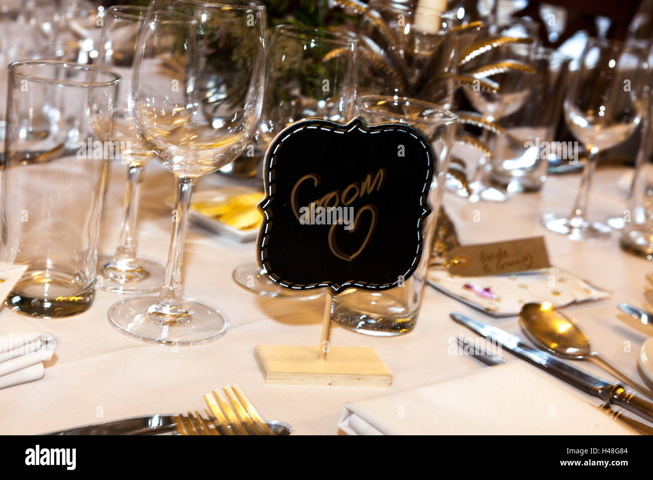 Place Setting For The Groom On A Wedding Table   Stock Image