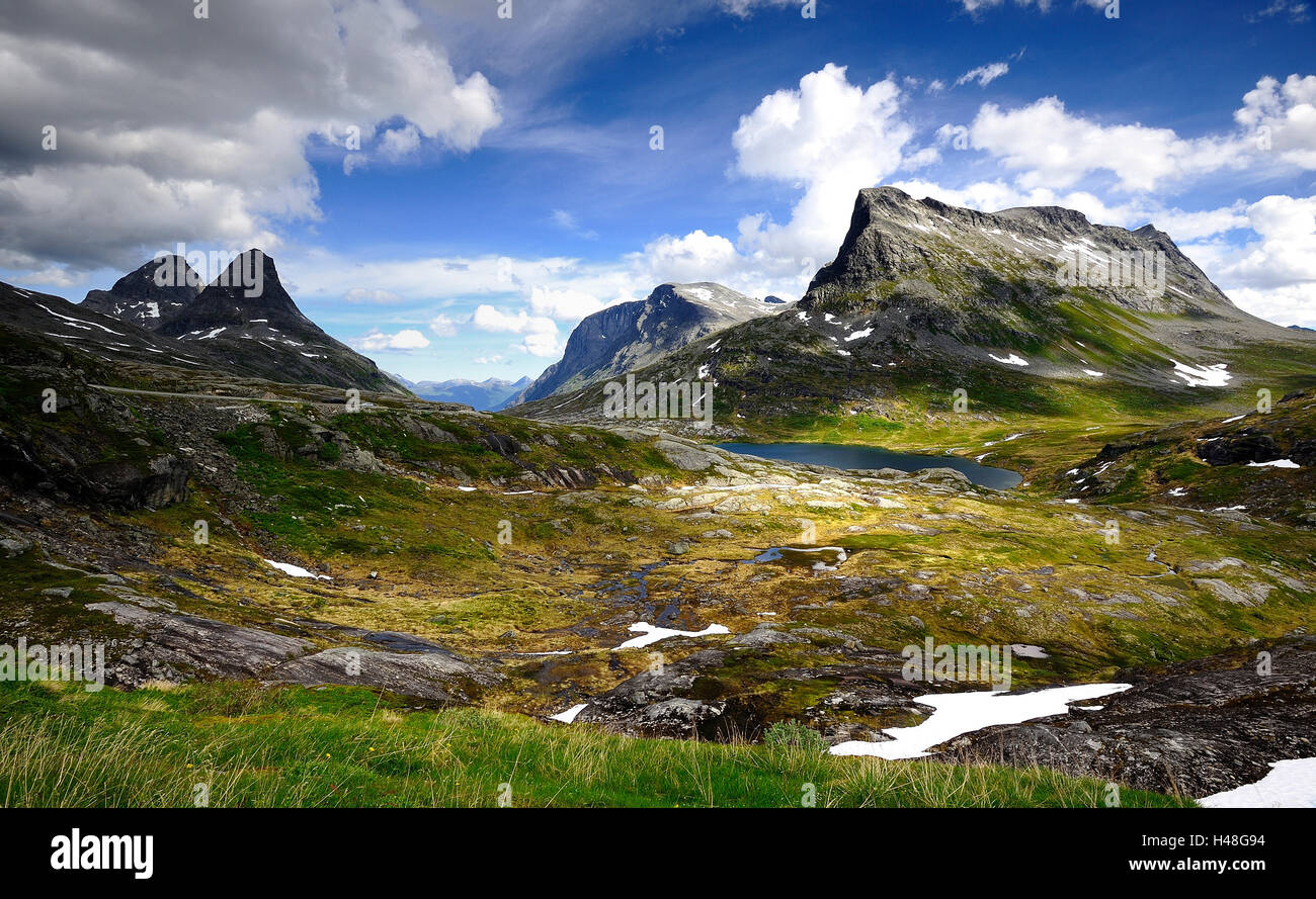 Large mountains on the Troll Road - Stock Image