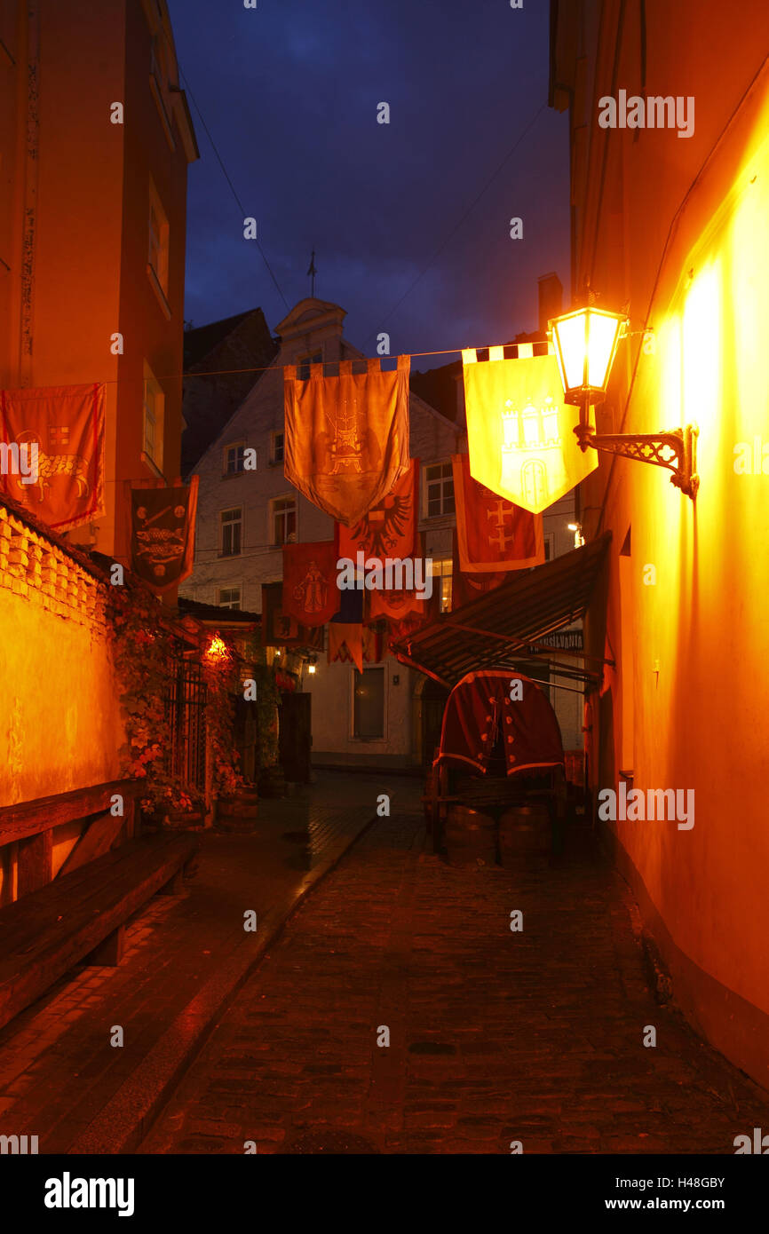 Latvia, Riga, Rozena Iela with historic houses in Old Town, - Stock Image