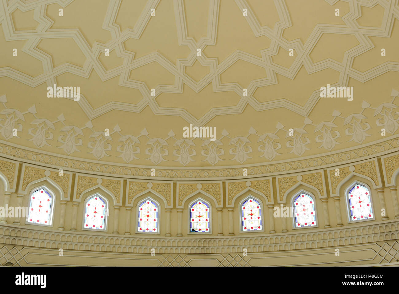 Ceiling ornament, Old Souk, blue Souk, traditional shopping centre, Emirate of Sharjah, United Arab Emirates, Arabian - Stock Image