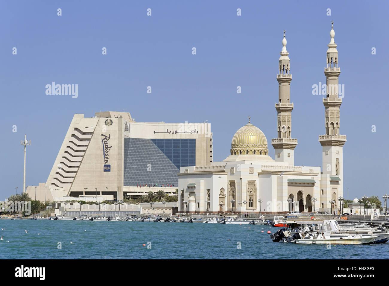 Five-star hotel Radisson Blu, Corniche Road, emirate Sharjah, United Arab Emirates, Arabian peninsula, the Middle - Stock Image