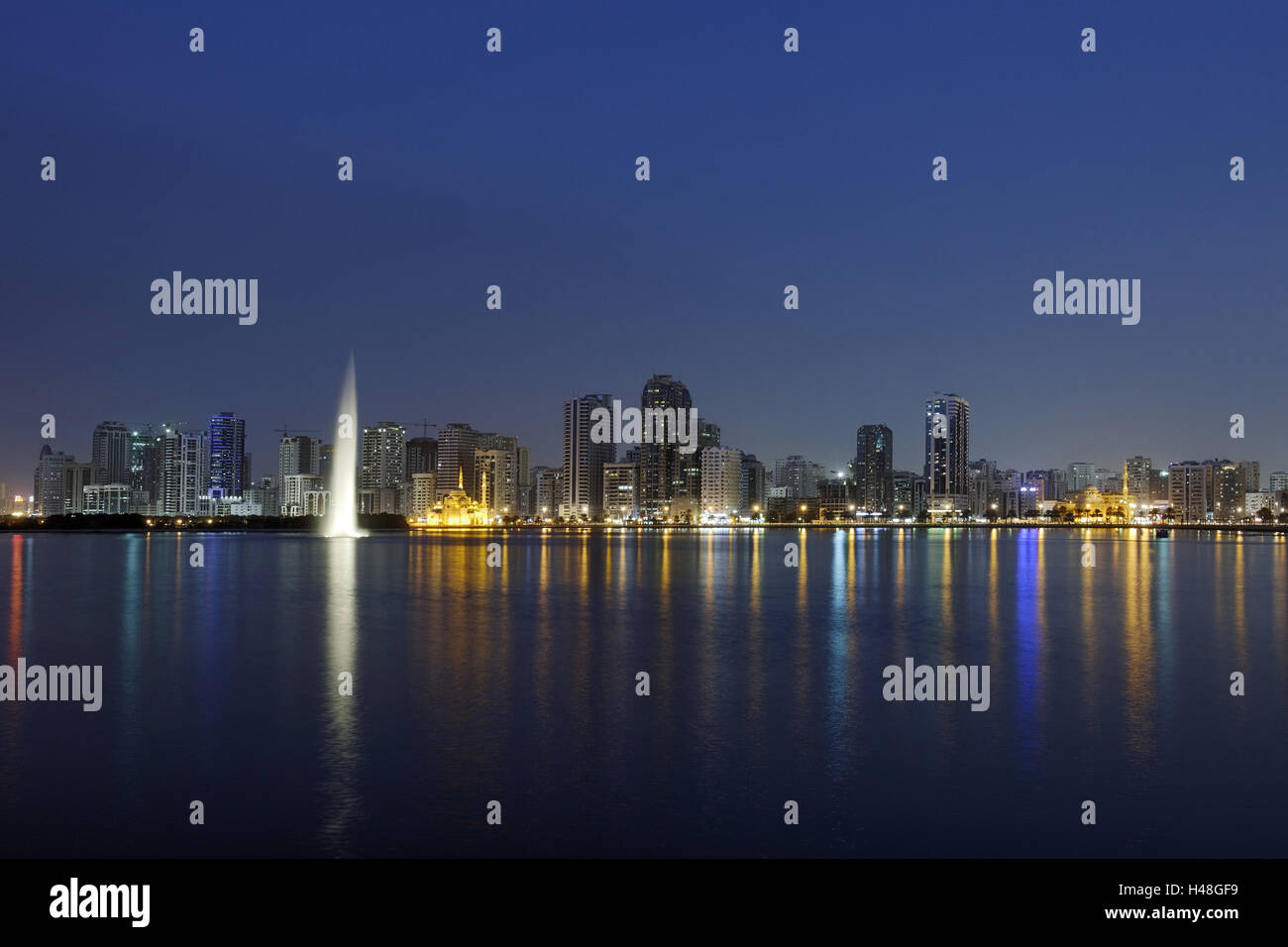 Skyline, Corniche Street, Golden Mile, emirate Sharjah, United Arab Emirates, Arabian peninsula, the Middle East, - Stock Image