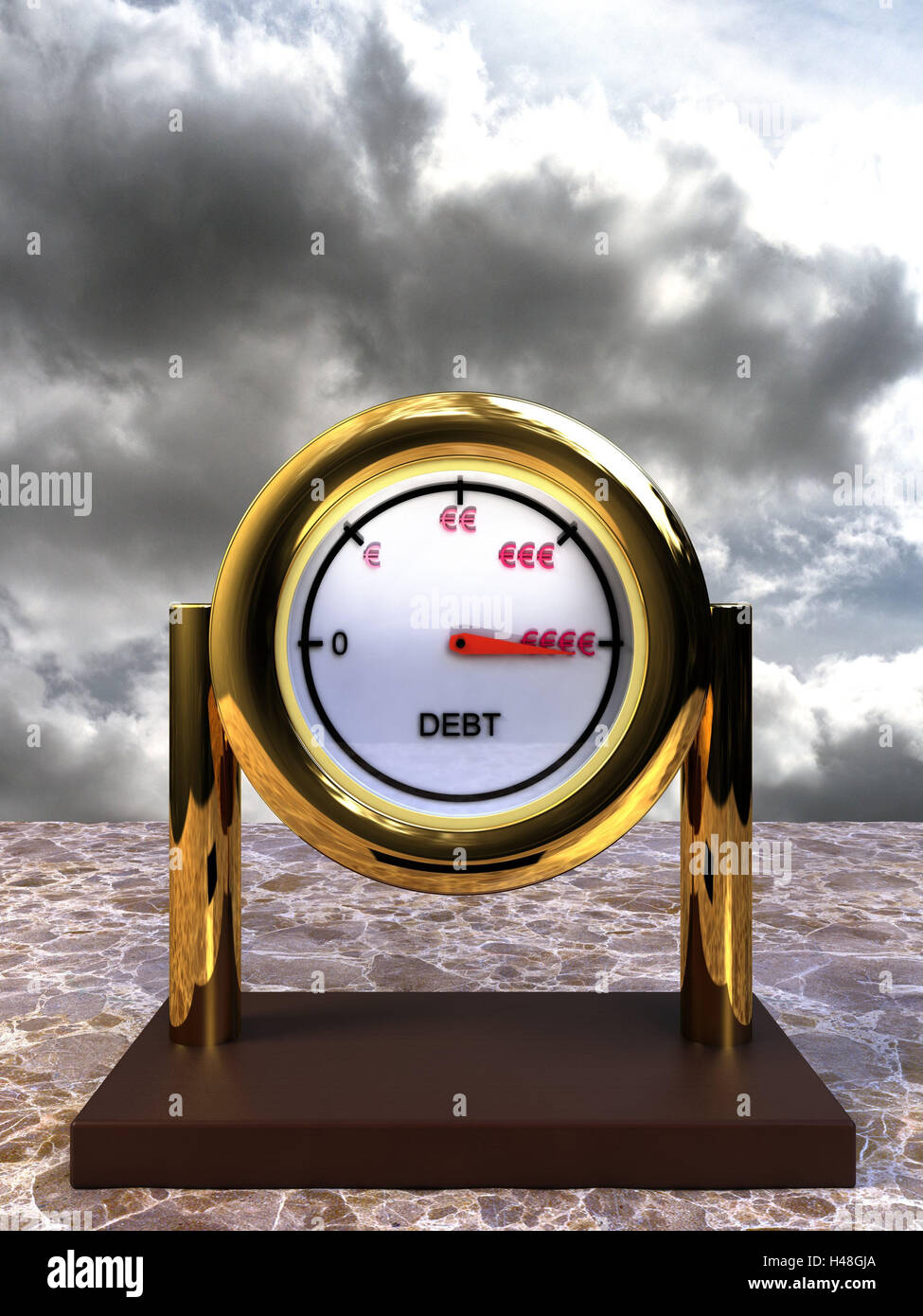 Computer graphics, debt clock, display, debt position, thunderstorm heaven, heaven, thunderstorm, vertical format, - Stock Image