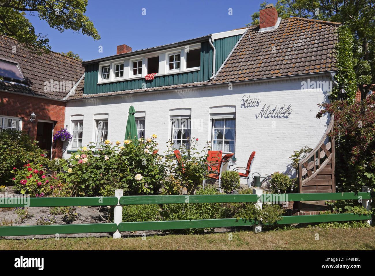 Private Boarding House U0027House Metildeu0027, Island Spiekeroog,   Stock Image