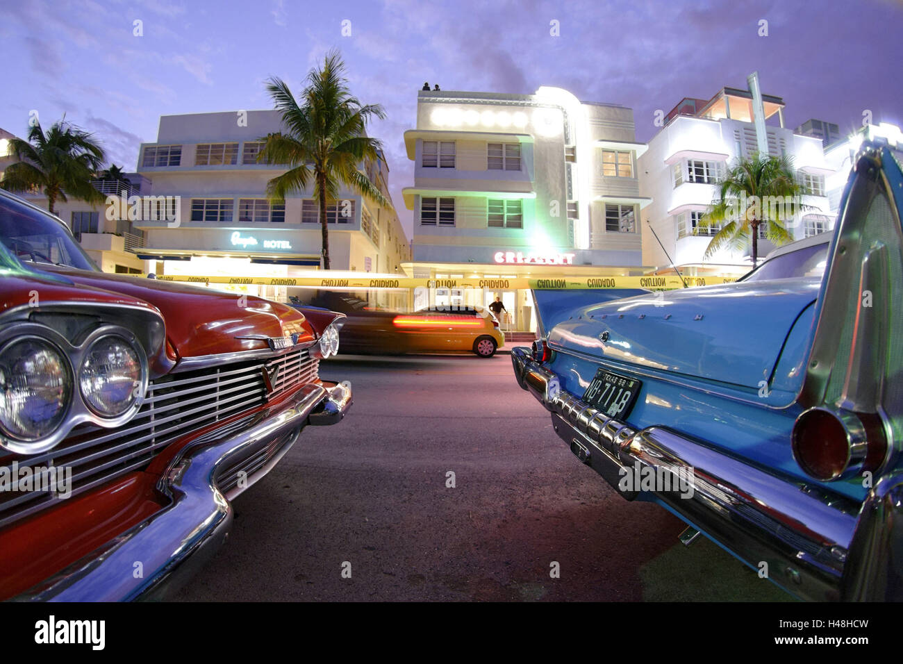 Two Plymouth Belvedere Convertibles, year of manufacture 1957, the fifties, American vintage cars, Ocean Drive, - Stock Image