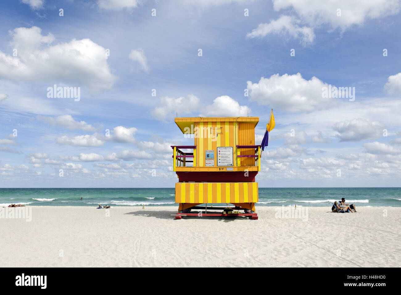 Beach watch-tower '3 PIECES', Lifeguard Tower, Atlantic, Miami South Beach, kind of Deco District, Florida, - Stock Image