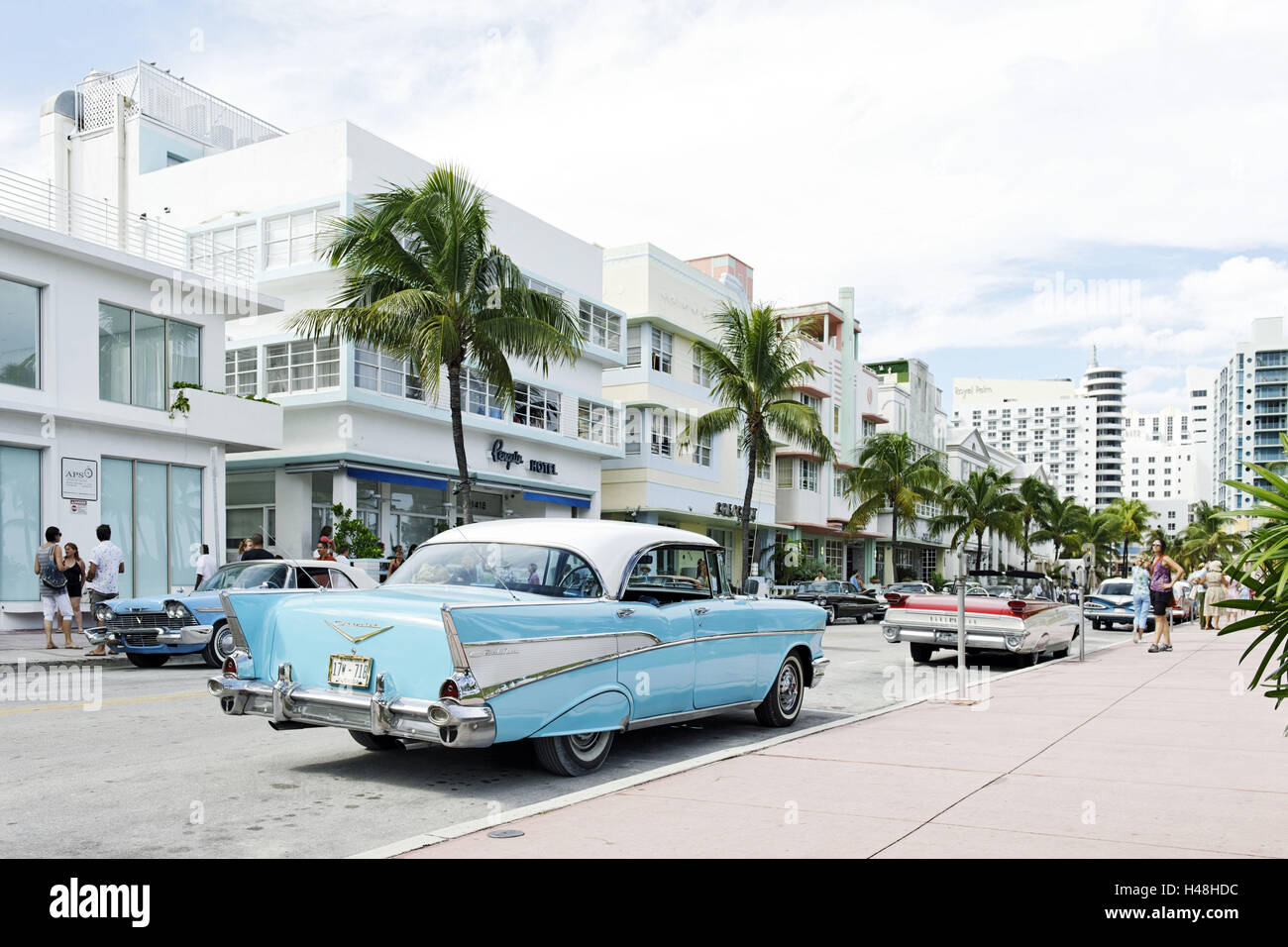 Chevrolet Bel Air, year of manufacture 1957, the fifties, American vintage car, Ocean Drive, Miami South Beach, Stock Photo