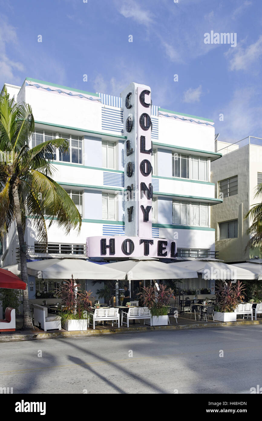 Colony Hotel, facade, Art Deco hotel, Ocean Drive, Miami South Beach, Art Deco District, Florida, USA, - Stock Image