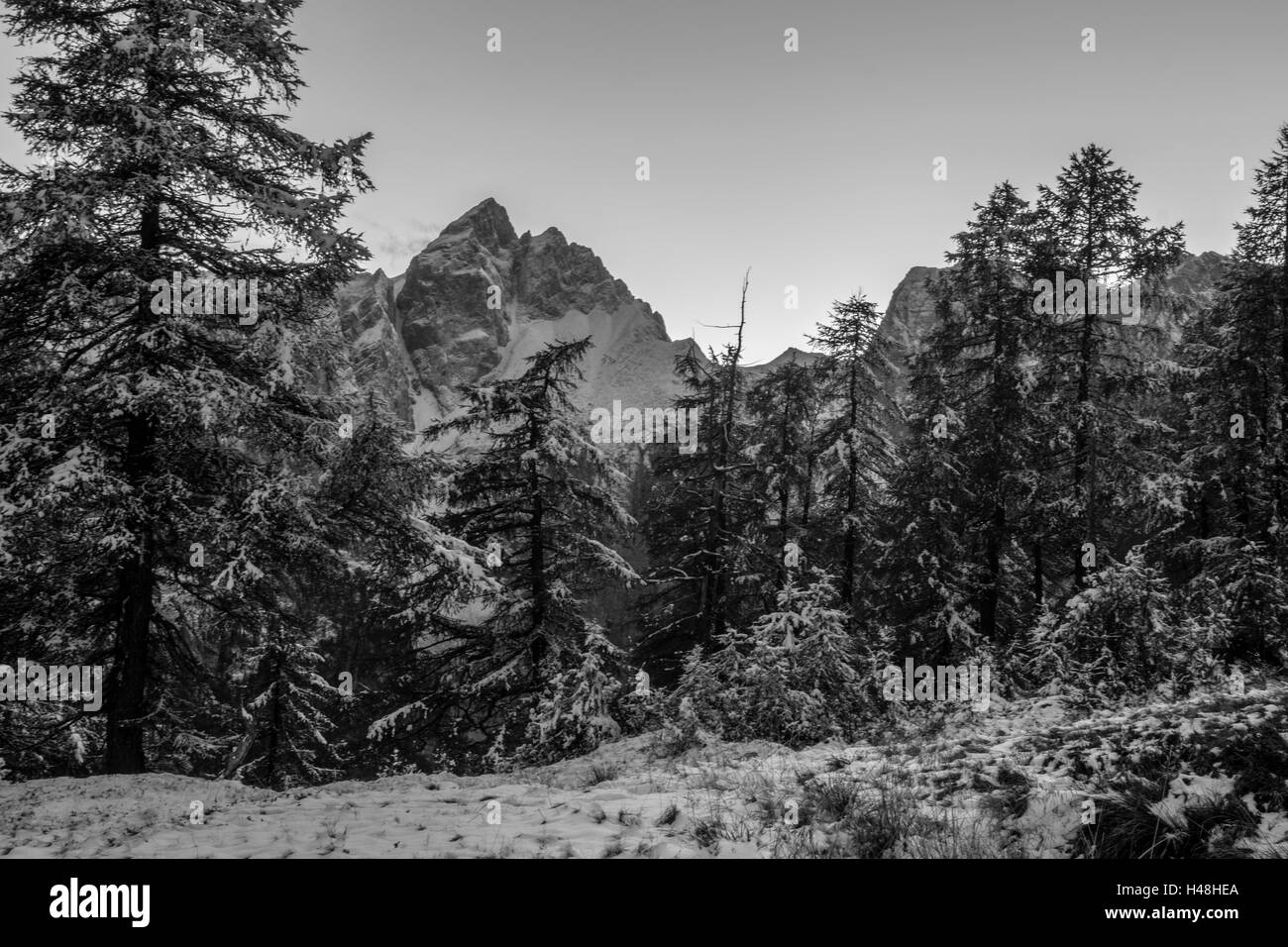 Mountain view in black and white - Stock Image