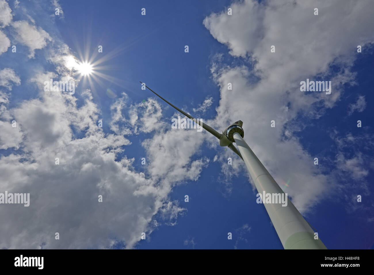 Wind turbine, from below, heaven, the sun, wind power attachment Holtriem, west-recovered, - Stock Image