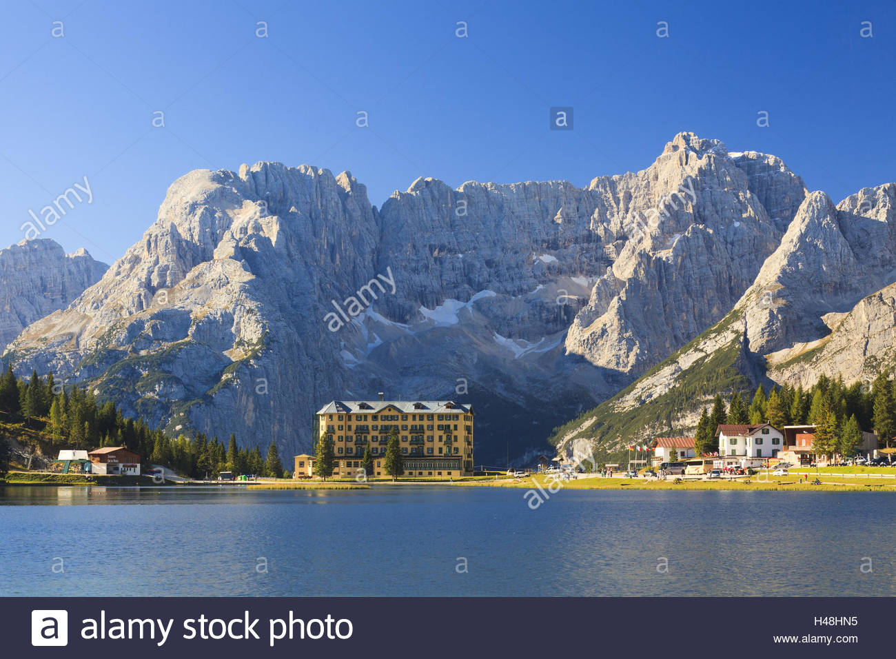 Mountain hotels at the Lago Misurina, Lake Misurina, in front of the massif of the Sorapis, Italy, - Stock Image