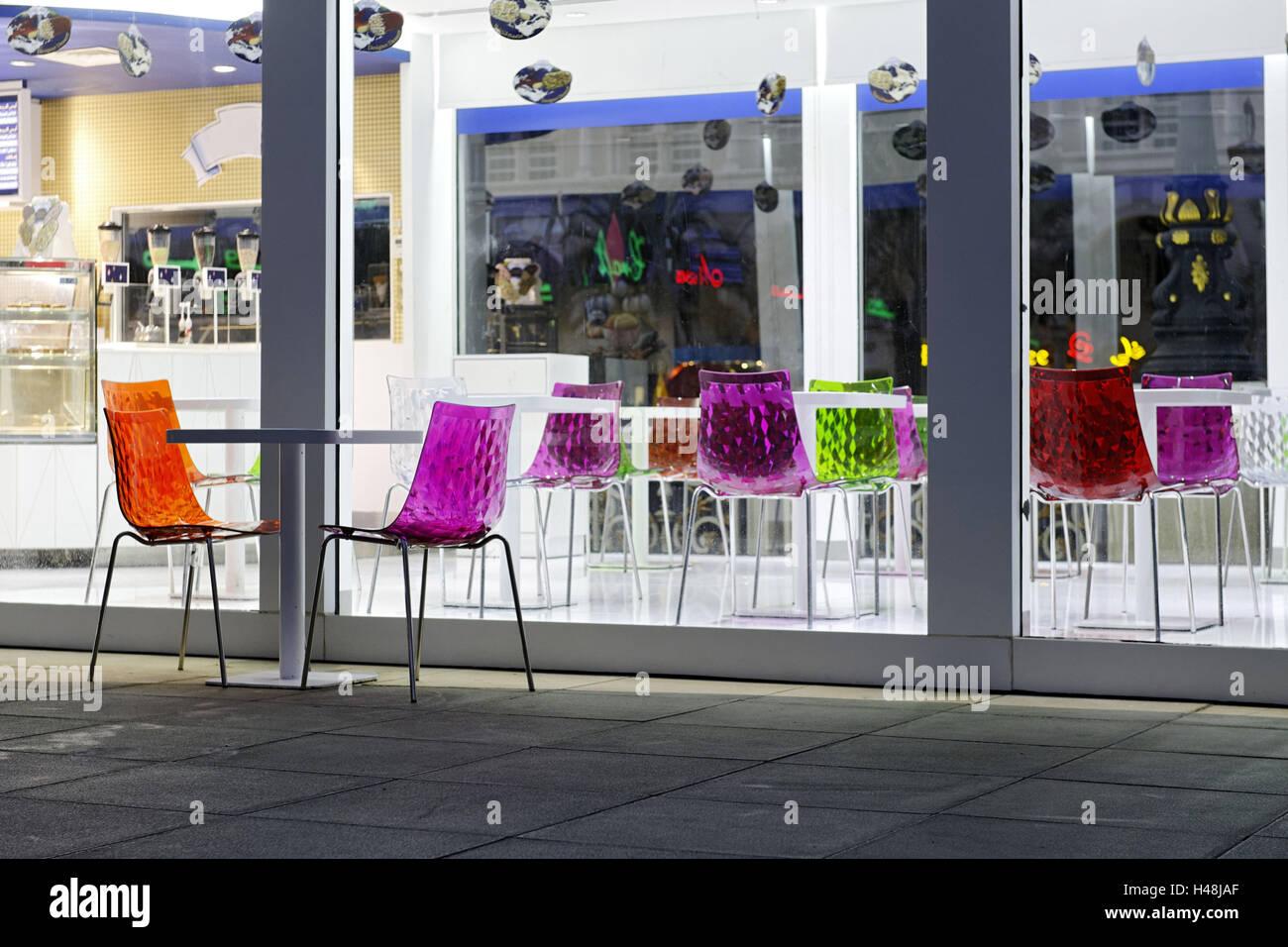 Ice Cream Parlour With Colourful Plastic Chairs, Al Qasba, Emirate Of  Sharjah, United Arab Emirates, Arabian Peninsula, The Middle East, Asia,