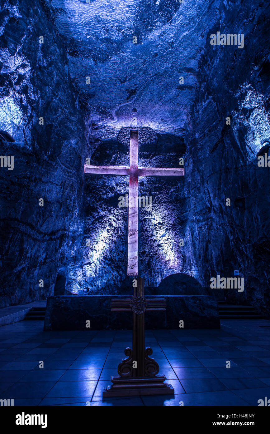 Mighty cross Catedral de sal Zipaquira Colombia - Stock Image