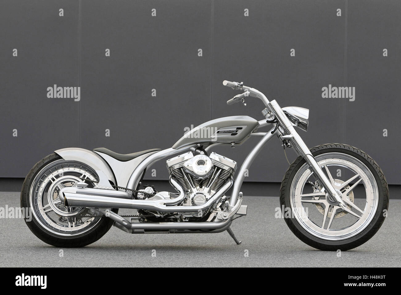 Motorcycle, chopper AMG, right side, silver, design motorcycle, - Stock Image