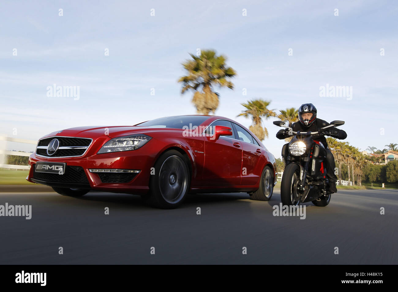 Motorcycle Ducati Diavel And Mercedes Cls 63 Amg Red Power Bike