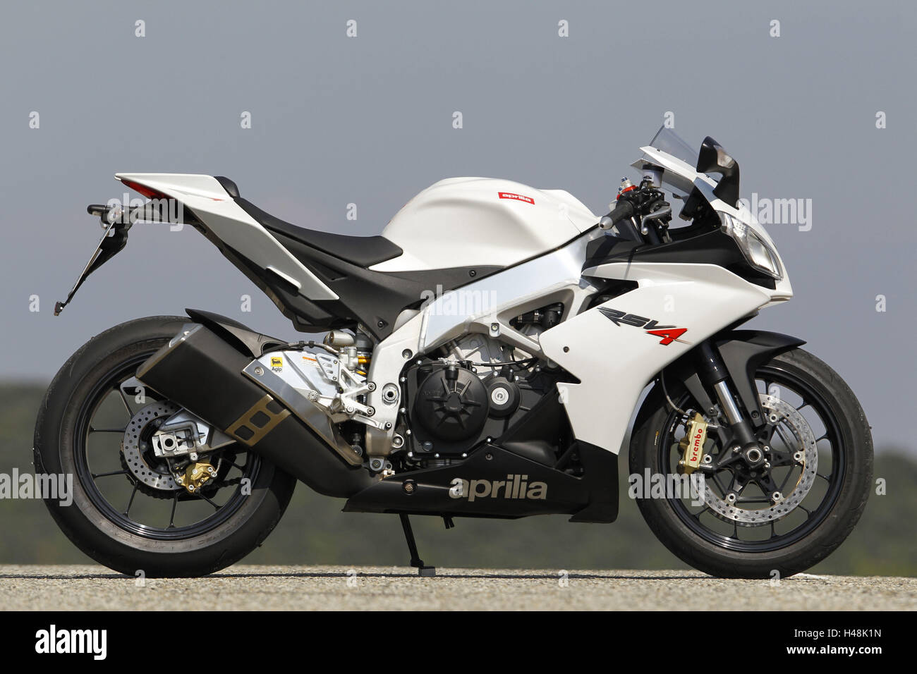 motorcycle 1000cc aprilia rsv 4 side standard right stock photo