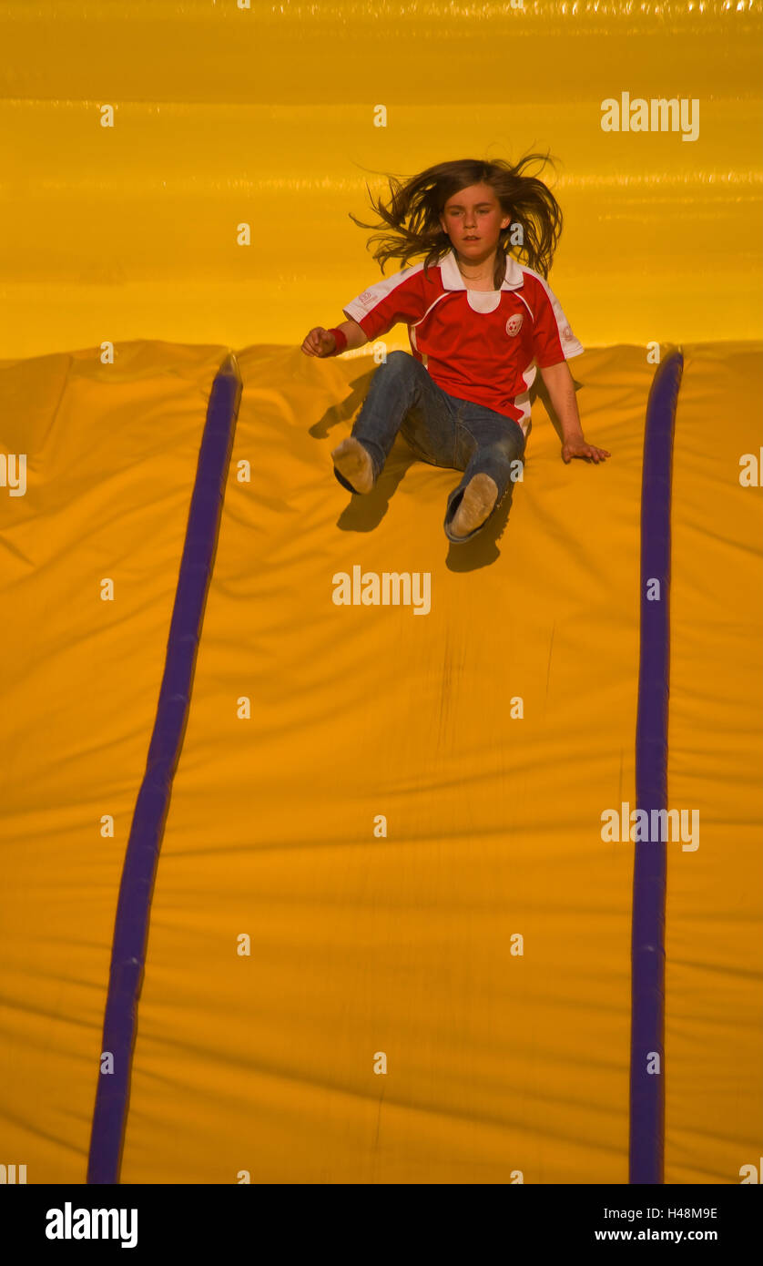 Child, slide trajectory, - Stock Image
