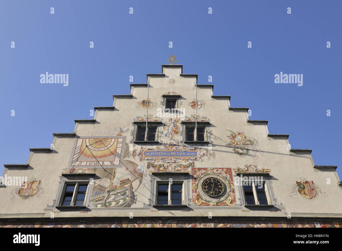 House, gable, historically, city hall, Lindau, Bavaria, Germany, - Stock Image