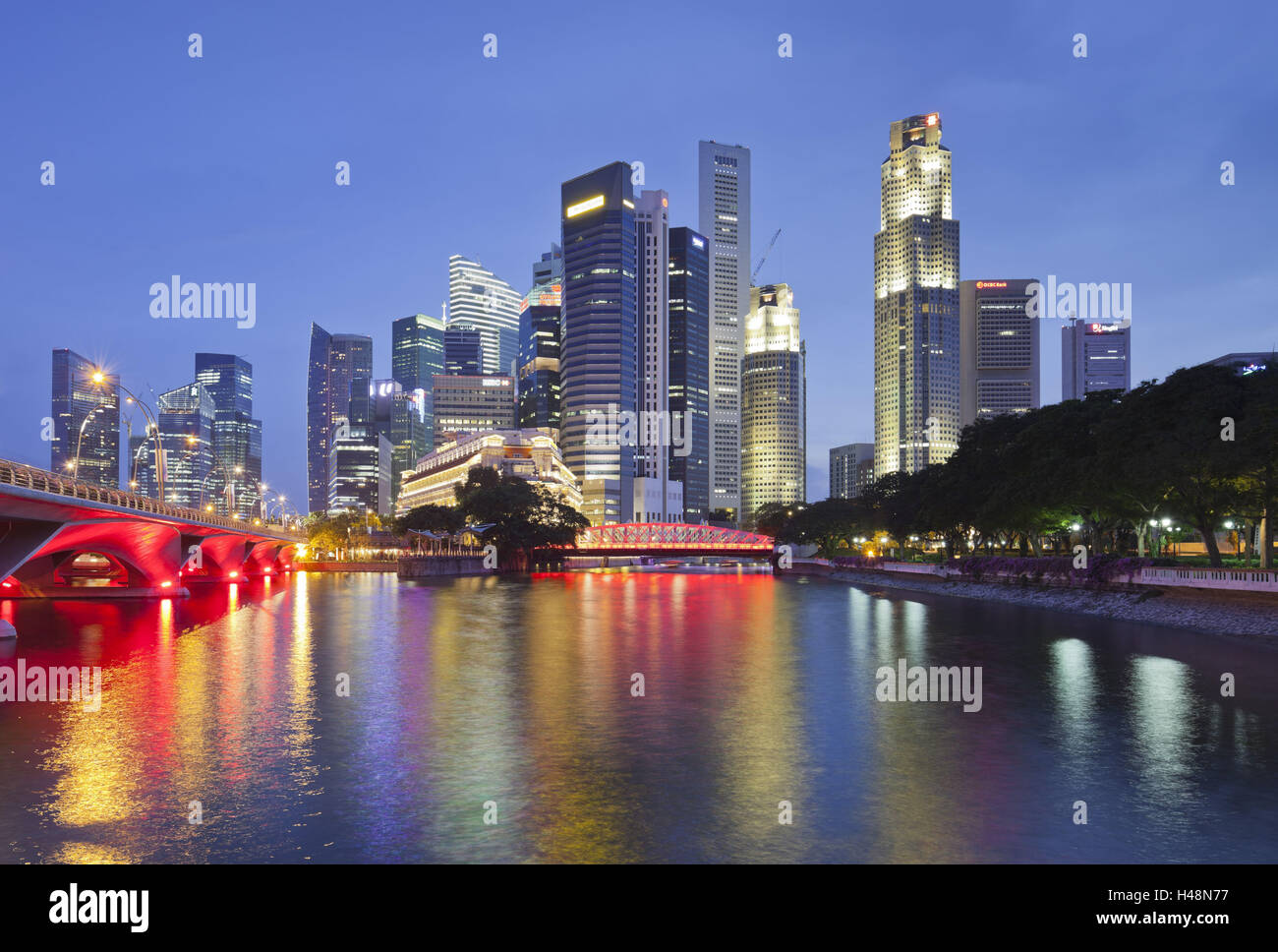Anderson Bridge, Financial District, Marina Bay, Singapore, - Stock Image