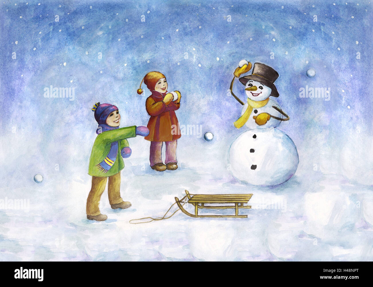 Subscription, children, snowman, snowball battle, snowing, illustration, painting, boy, girl, siblings, winter clothes, - Stock Image