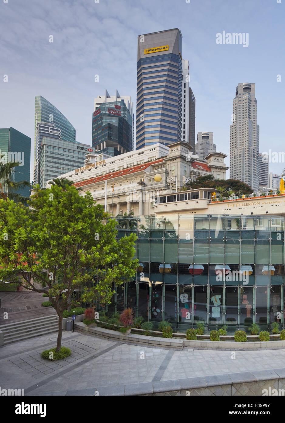 Fullerton hotel, Financial District, Marina Bay, Singapore, - Stock Image