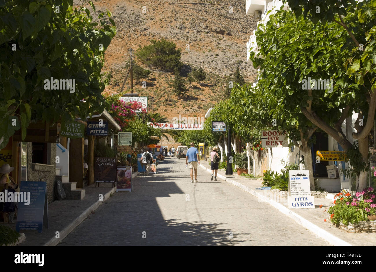 Greece, Crete, agio Rumeli, many taverns expect the hungry wanderers from the Samaria gulch, - Stock Image
