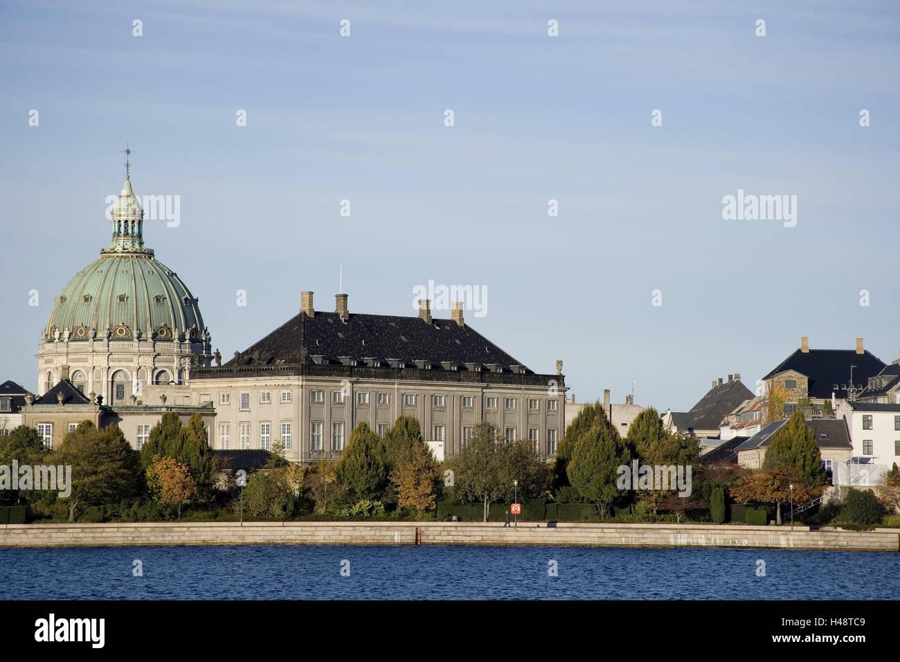 Denmark, Copenhagen, Christianshavn, Amalienborg slot, Frederikskirken, capital, castle Amalienborg, Marmorkirken, - Stock Image