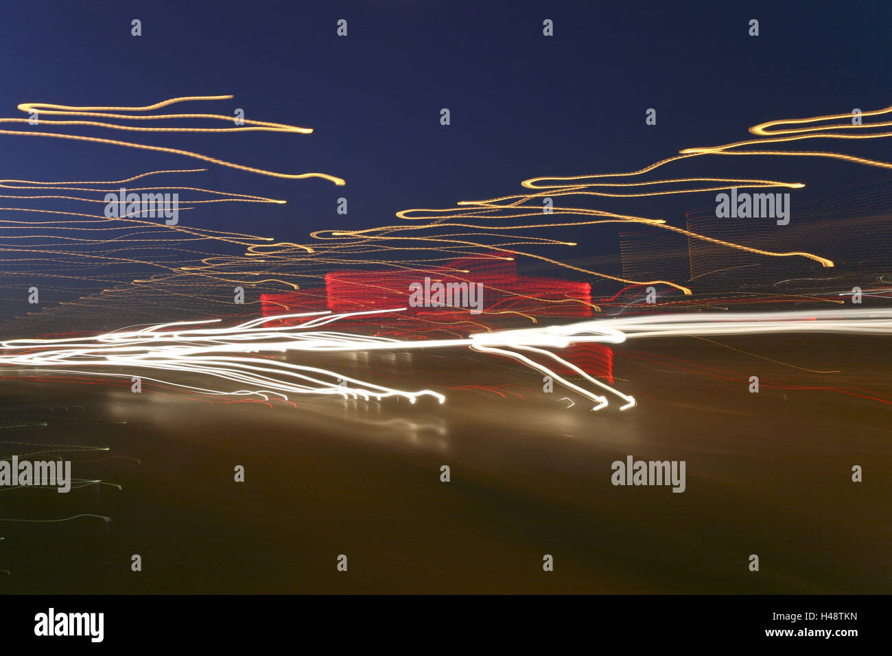 Street, traffic, light tracks, blurs, evening, - Stock Image