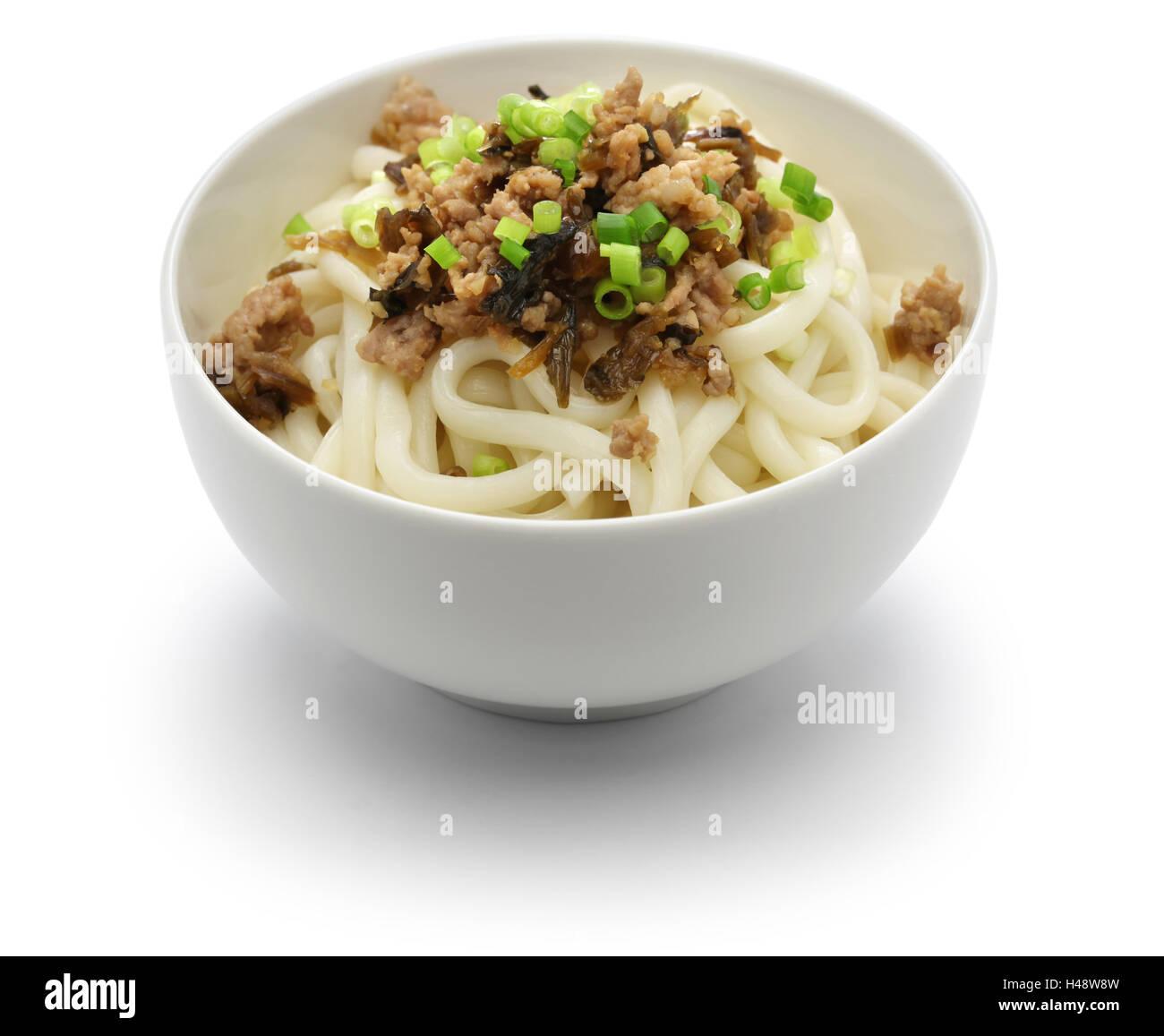 dan dan noodles, chinese sichuan cuisine, before mix - Stock Image