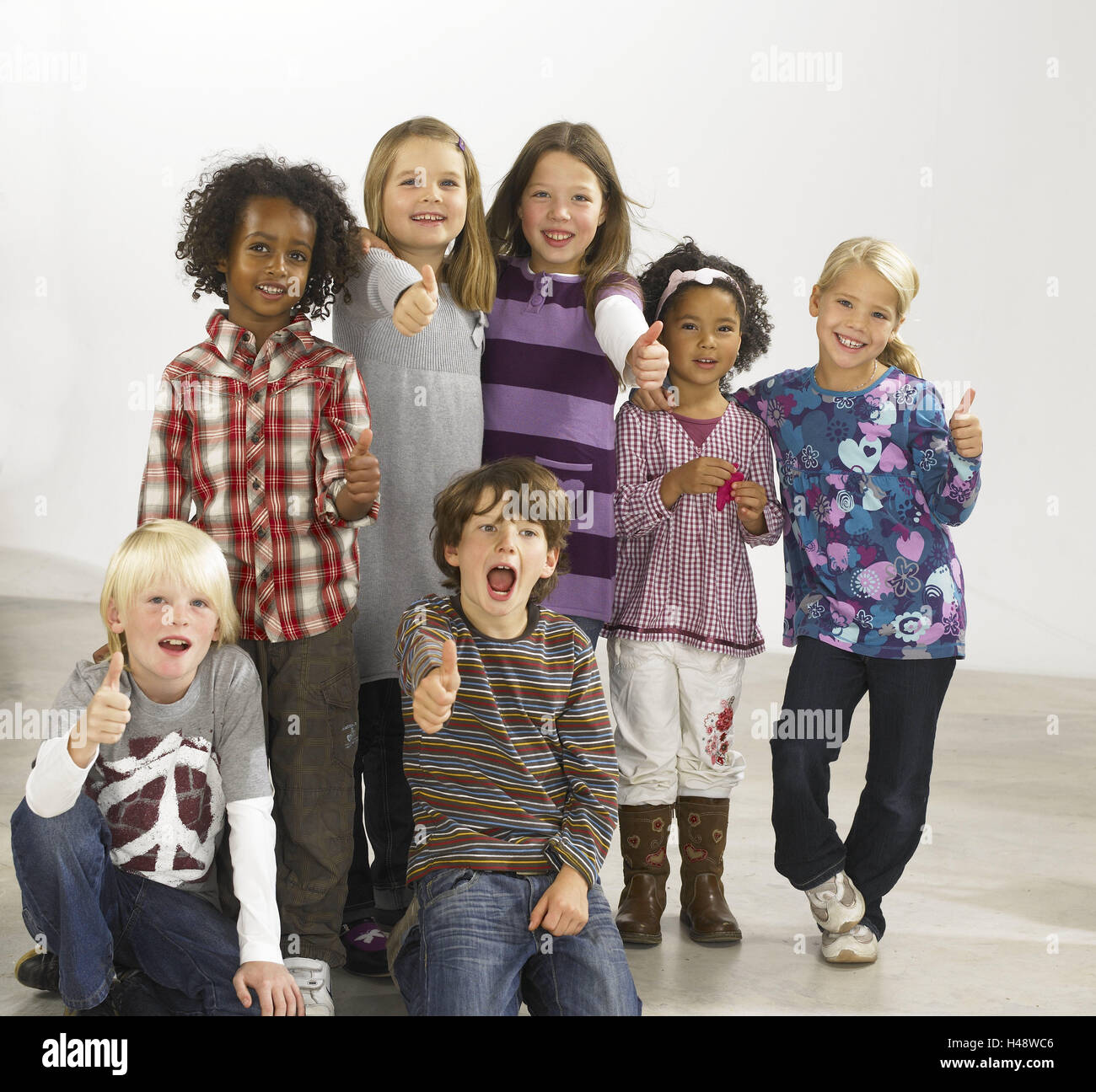 Children, nationality, passed away, laugh, happy, group picture, model released, people, girls, boys, joy, gesture, - Stock Image