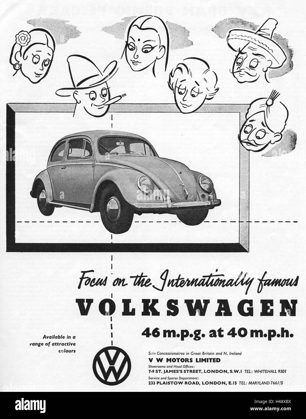 Advert for Volkswagen cars from a magazine in 1957. - Stock Image