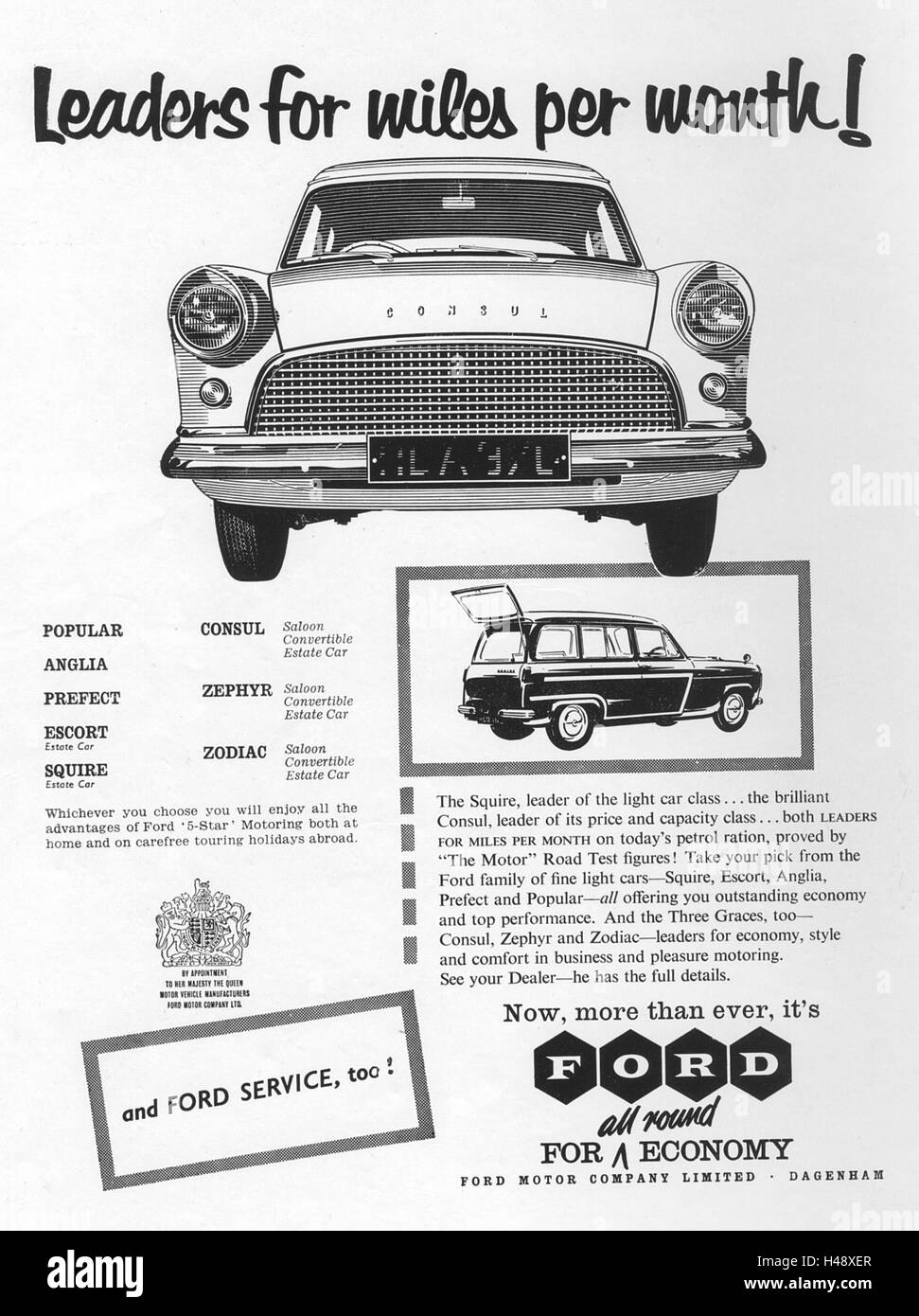 Advert for Ford cars from a Motor Sport magazine in 1957. - Stock Image