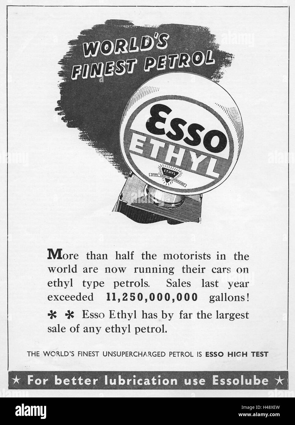 Advert for ESSO Petrol from a Motor Sport magazine in 1937. - Stock Image