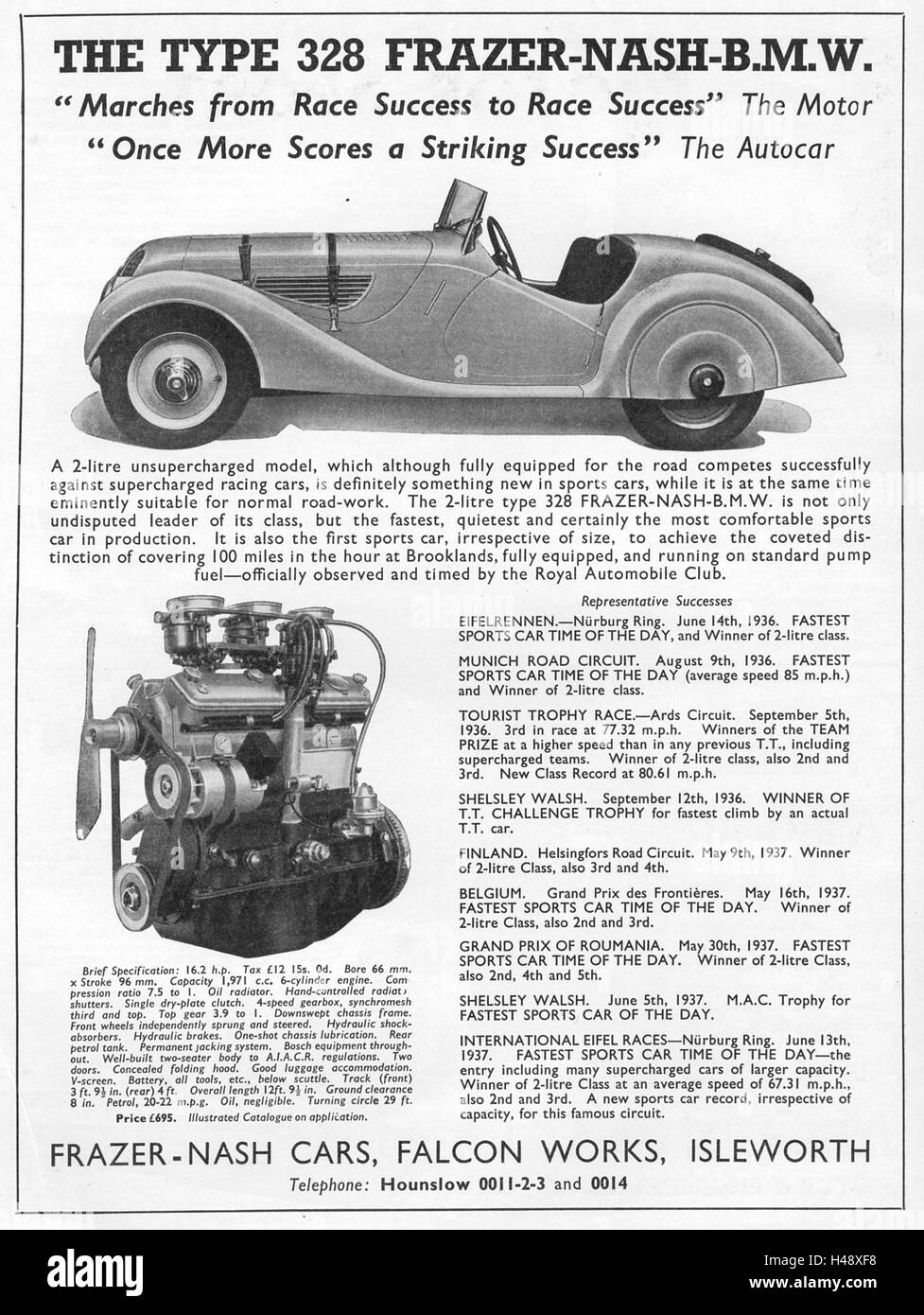 Advert for Type 328 Frazer Nash BMW from a Motor Sport magazine in 1937. - Stock Image